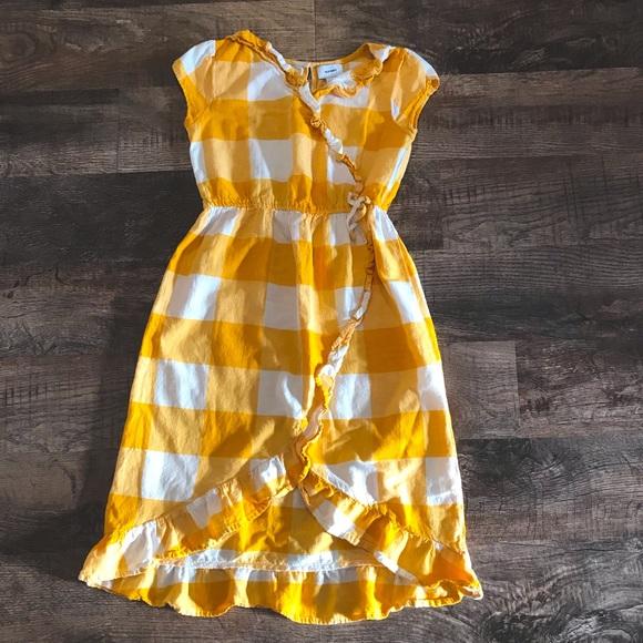 Old Navy yellow & white plaid dress, size L